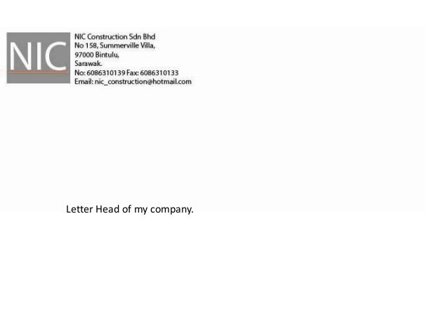 Letter Head of my company.