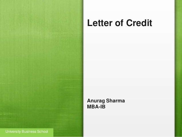 Letter of Credit Anurag Sharma MBA-IB University Business School