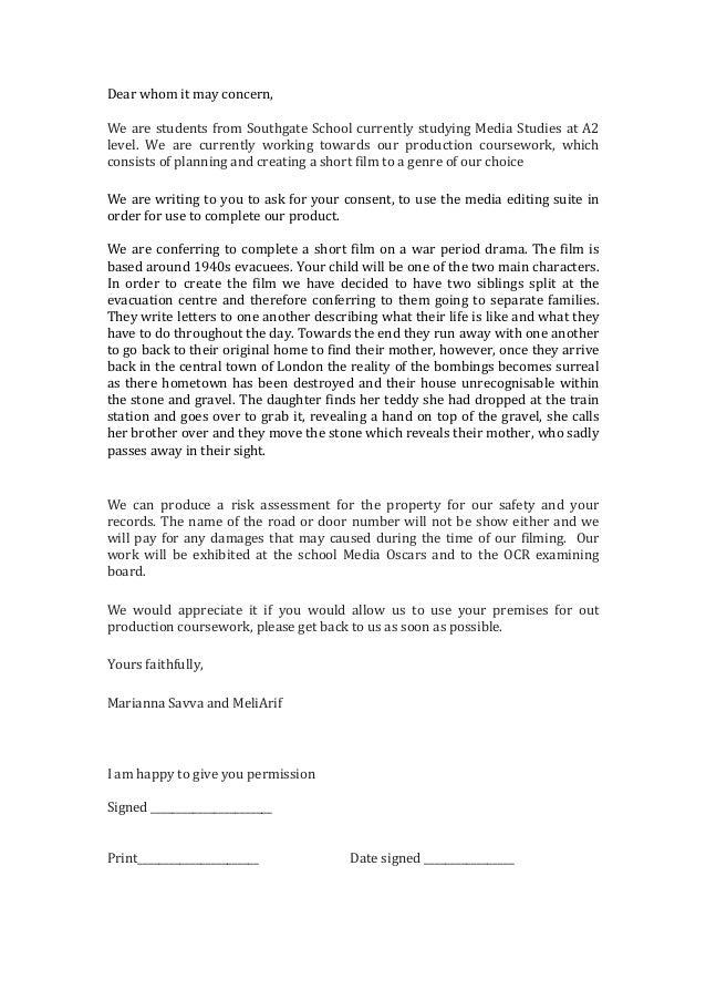 Letter Of Permission Media Editing Suite
