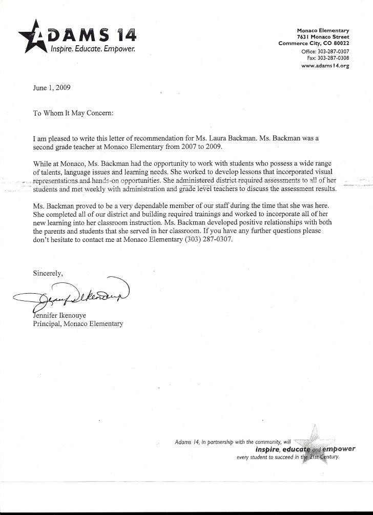 letter of recommendation from principal jennifer ikenouye