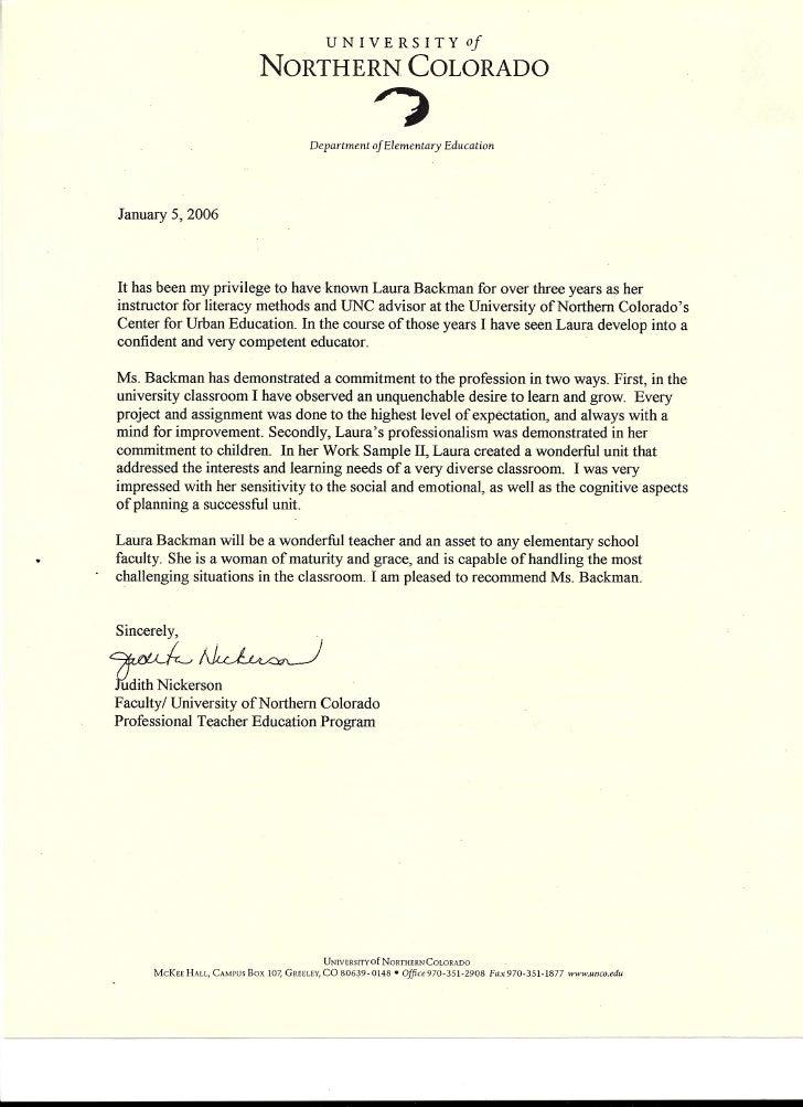 teaching recommendation letter