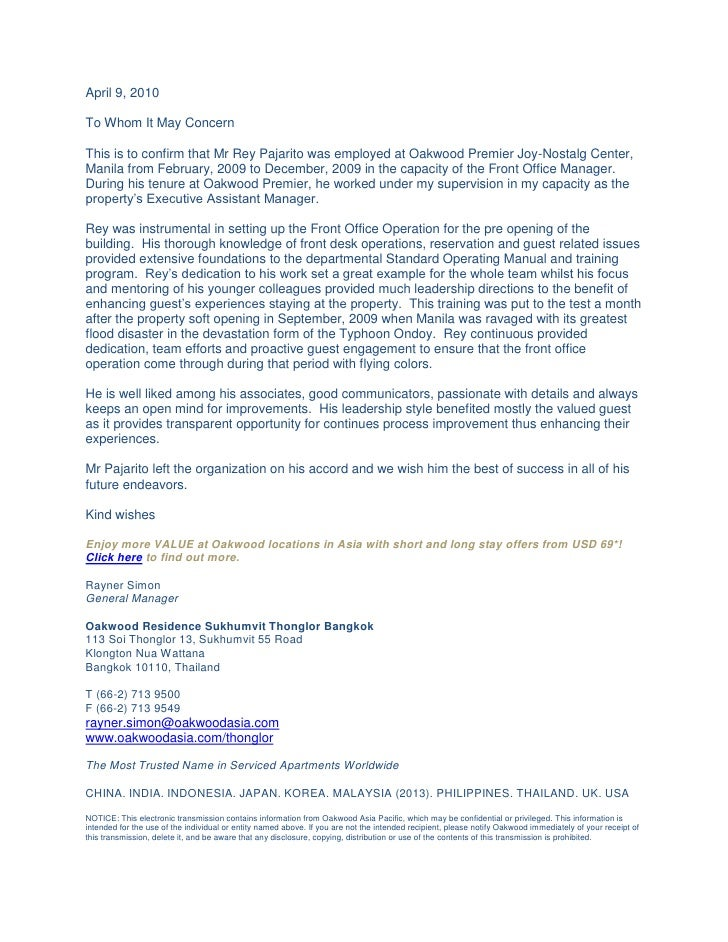 Letter Of Recommendation From Mr Rayner Simon General
