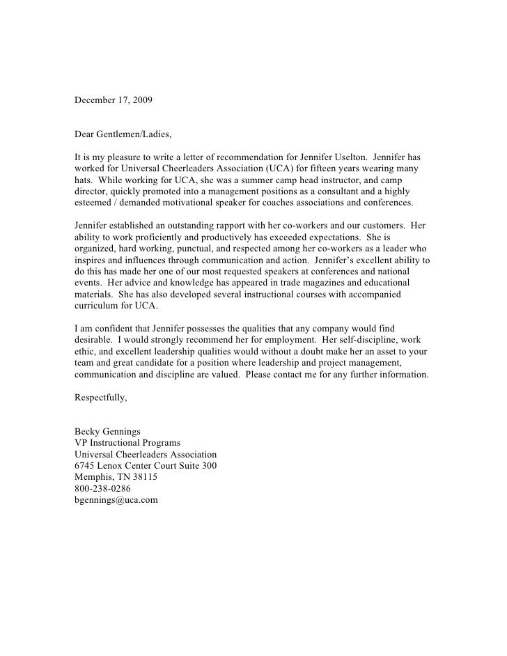 Letter Of Recommendations For Collge Cheer