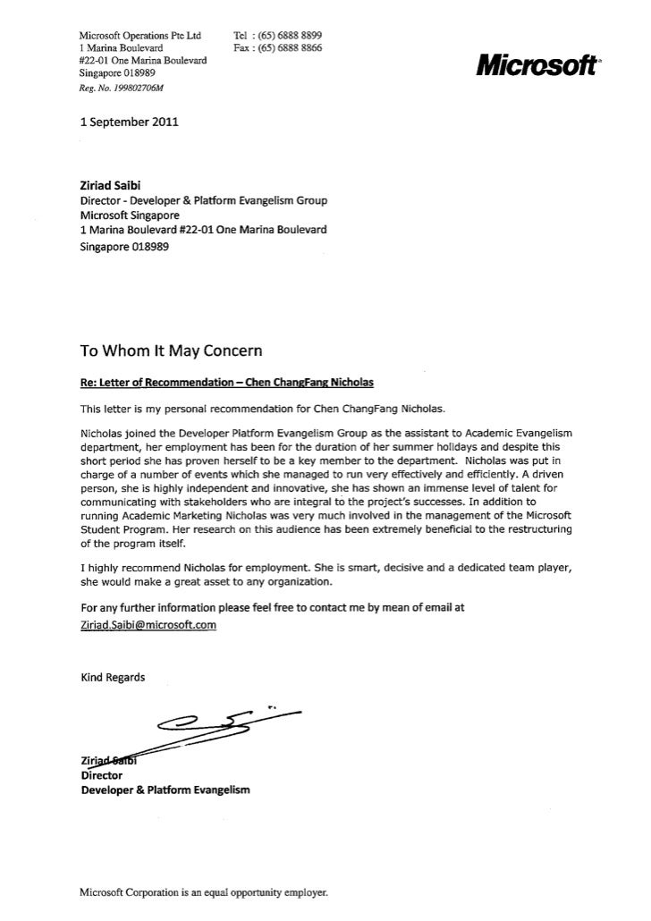 Letter Of Recommendation From Infosys