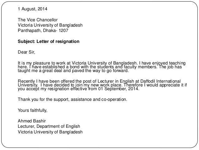 teaching letter of resignation