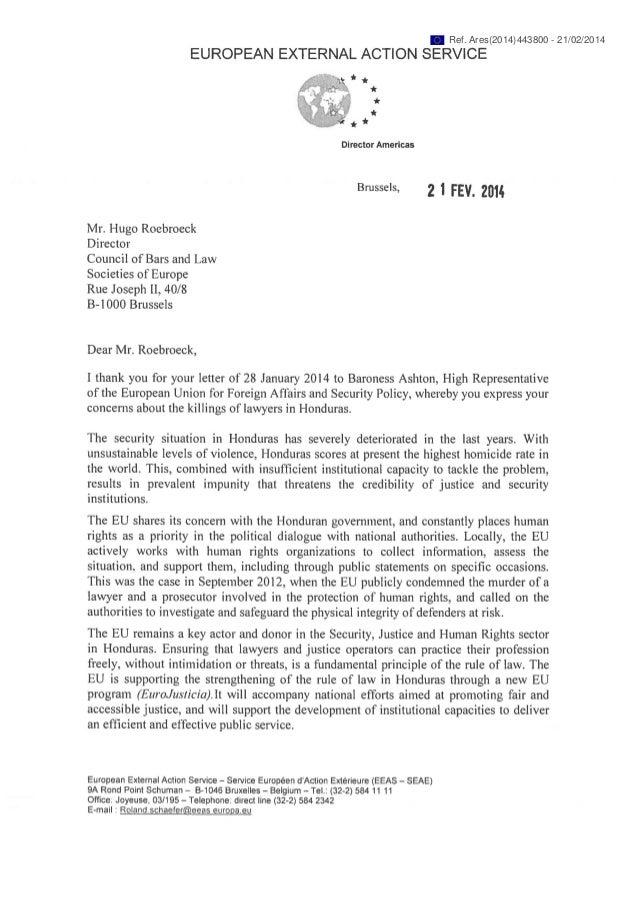 Honduras : les services extérieurs de l'UE répondent au CCBE