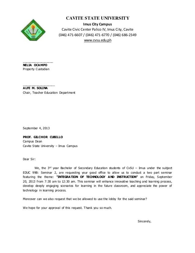 Sample Request Letter To Borrow Chairs And Tables
