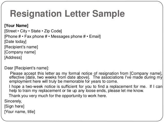 Resignation letter sample effective immediately resignation letter