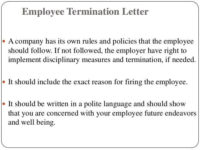 Termination Letter For Cause Termination Letters  Employment