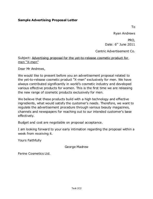 proposal letter to sell soap product A marketing letter for new product is a letter which is written by a person to market and sell a certain new product produced by a manufacturer or proposal letters.