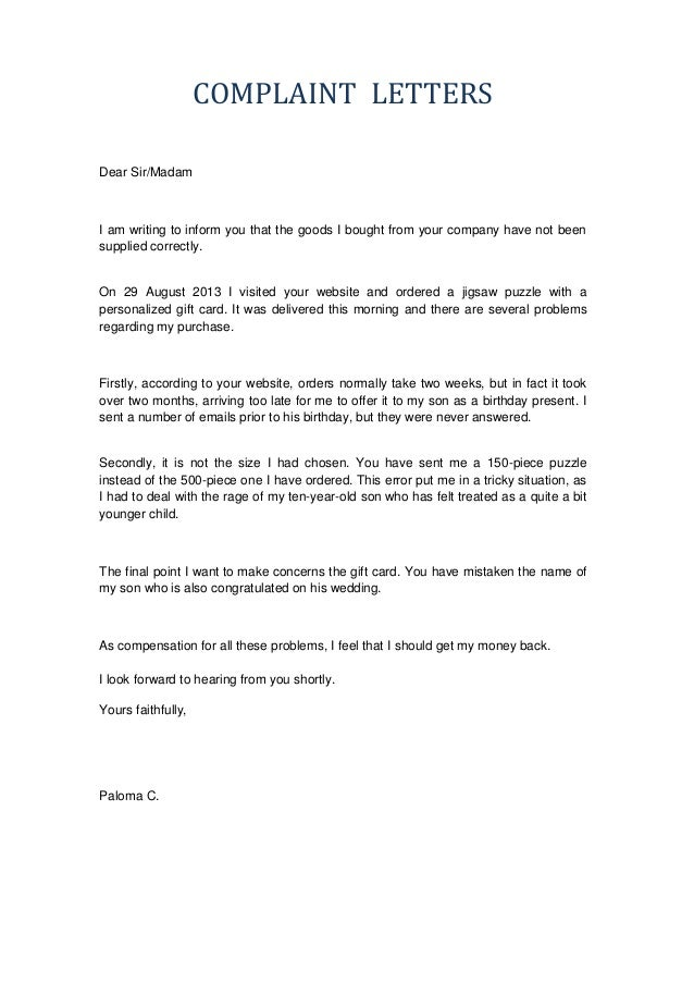 Formal Complaint Letter Sample Against A Person | Cover Letter