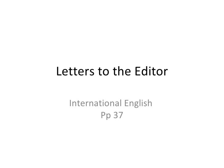 Letters to the Editor International English  Pp 37