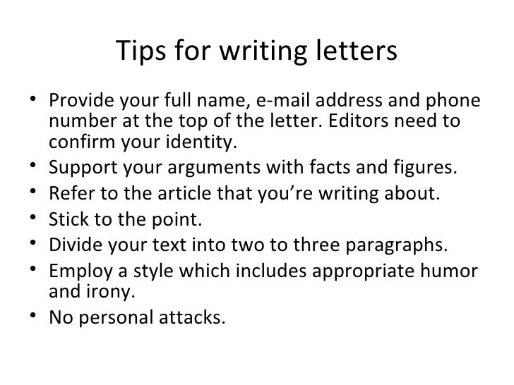 Writing a letter to the editor?