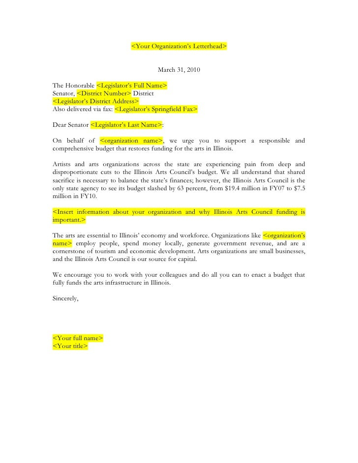 Letter Format To A State Senator