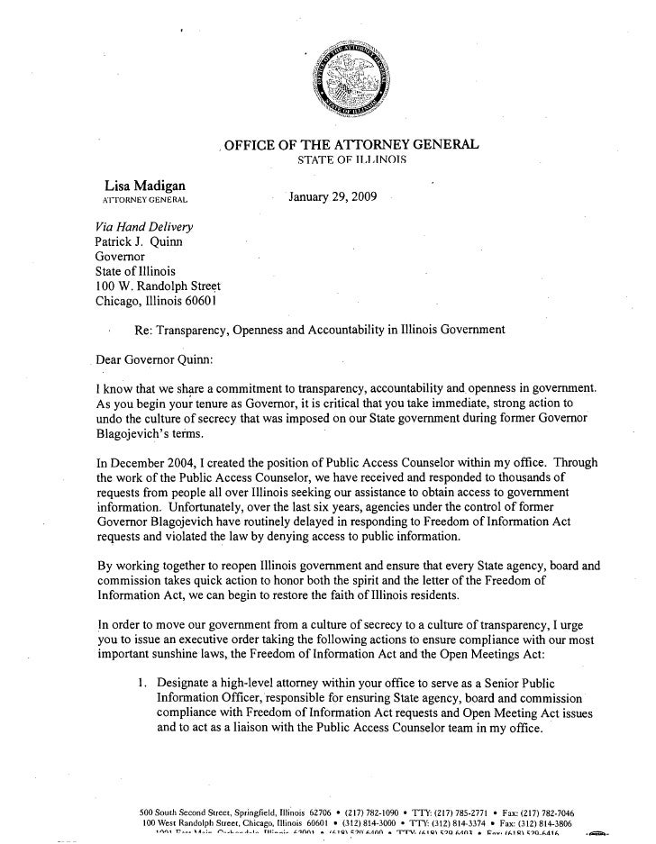 Letter To Governor Quinn From Lisa Madigan