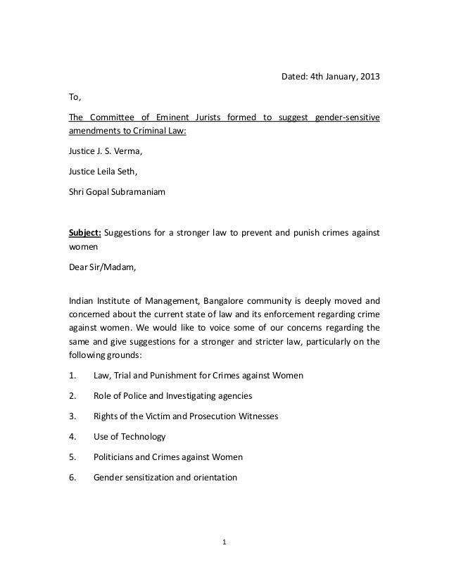 Dated: 4th January, 2013To,The Committee of Eminent Jurists formed to suggest gender-sensitiveamendments to Criminal Law:J...