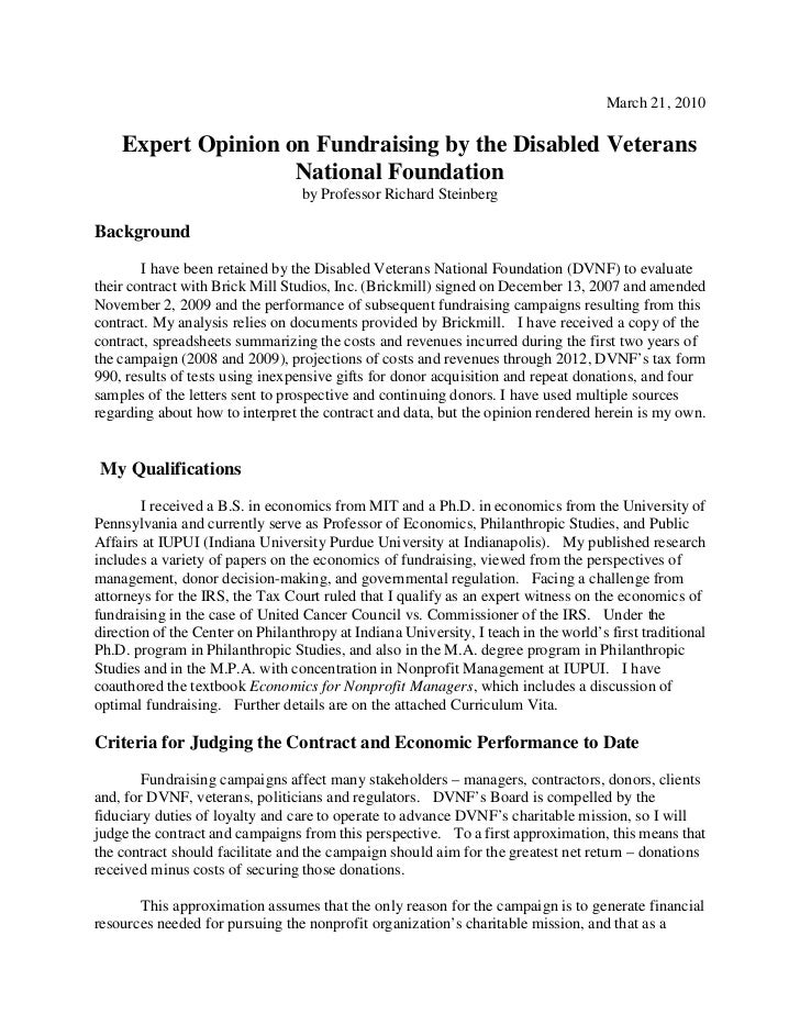 March 21, 2010    Expert Opinion on Fundraising by the Disabled Veterans                    National Foundation           ...
