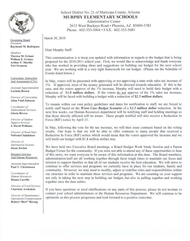 Letter to staff regarding the budget