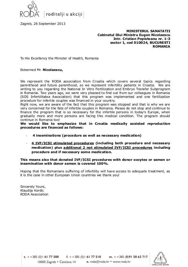 Letter to romanian minister of health   Roda Association Croatia