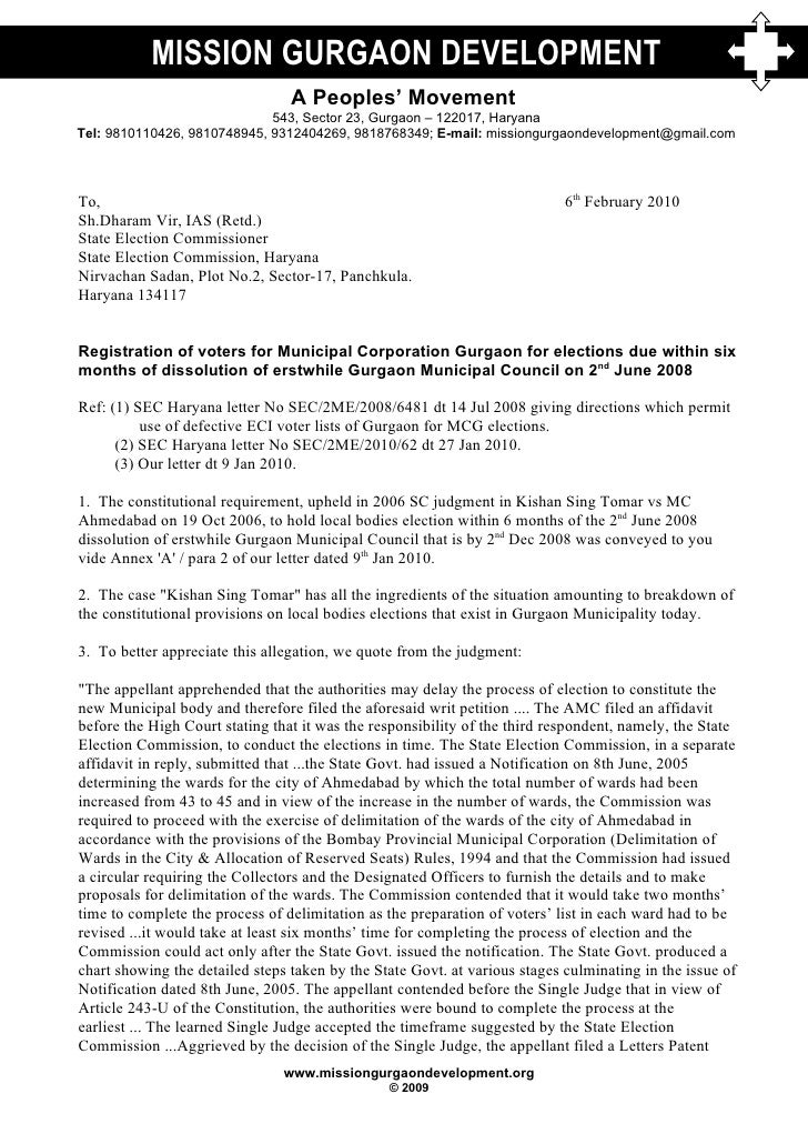 Letter To State Election Commission Haryana and Chief Minister Haryana 6 Feb 2010
