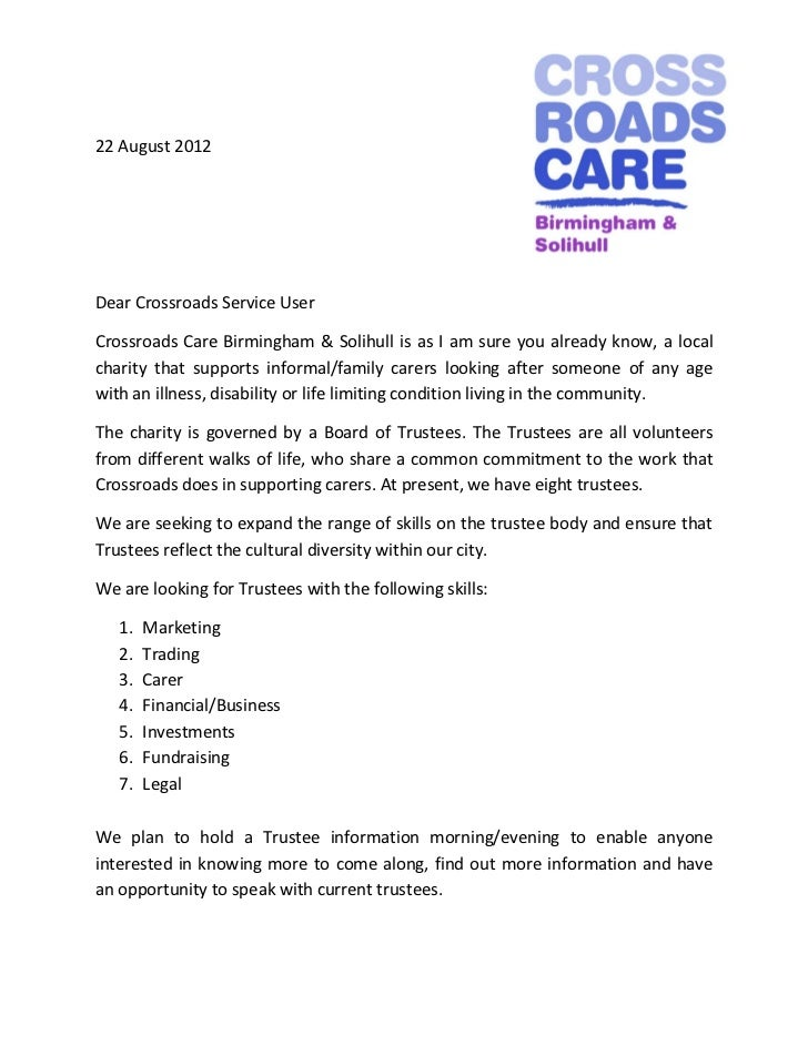 22 August 2012Dear Crossroads Service UserCrossroads Care Birmingham & Solihull is as I am sure you already know, a localc...