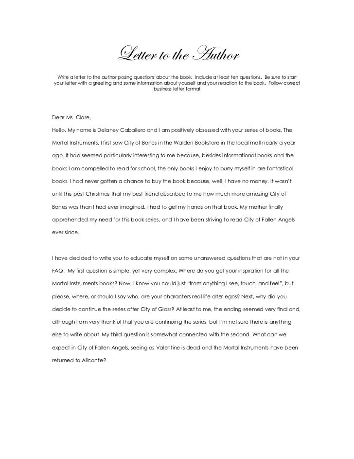 Letter To The Author