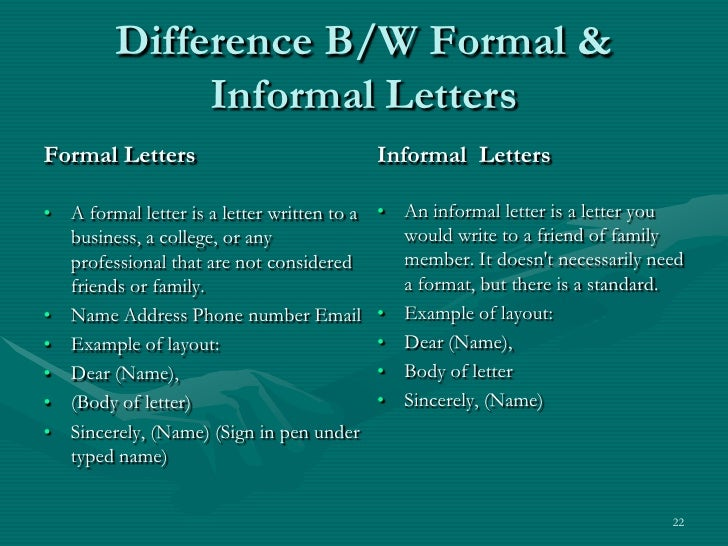 difference b w formal informal letters br formal letters br
