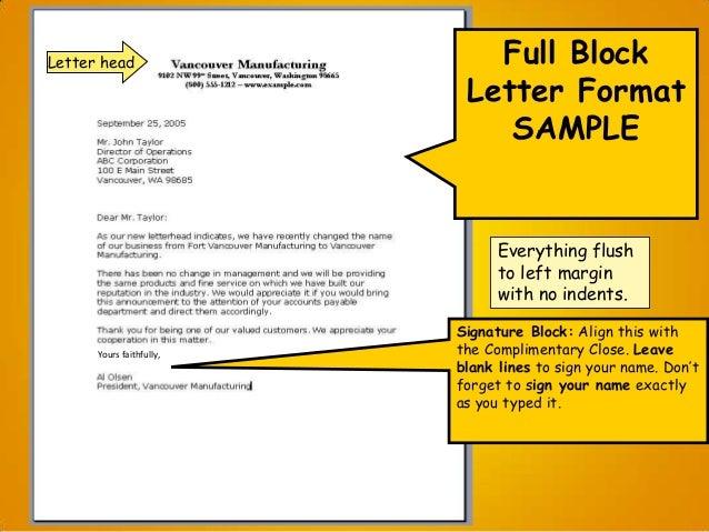 Examples Of Full Block Business Letters - sample of block letter ...
