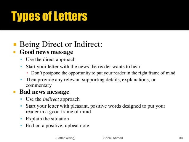 writing indirect messages Assignment 2 : writing negative message  you must reject, and give me a negative message (the worse the news, the better) you should respond using both a direct and indirect approach write directly in the email, you don't have to attach any documents reply using formal style.