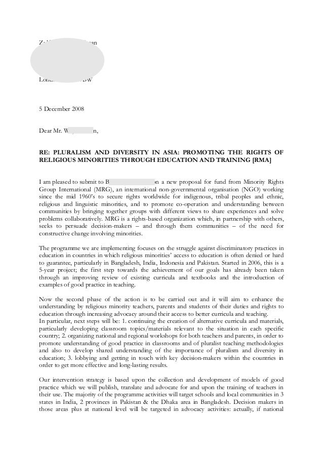 example of Letter of proposal (request for funds)