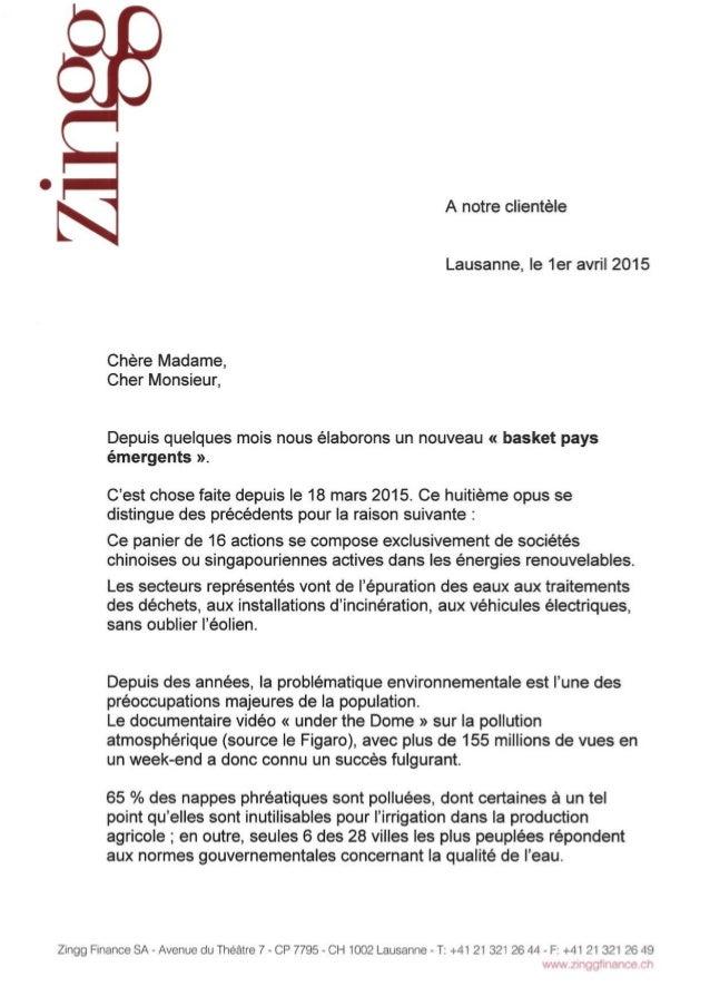 Lettre de Zingg Finance sur les marchés 01.04.2015