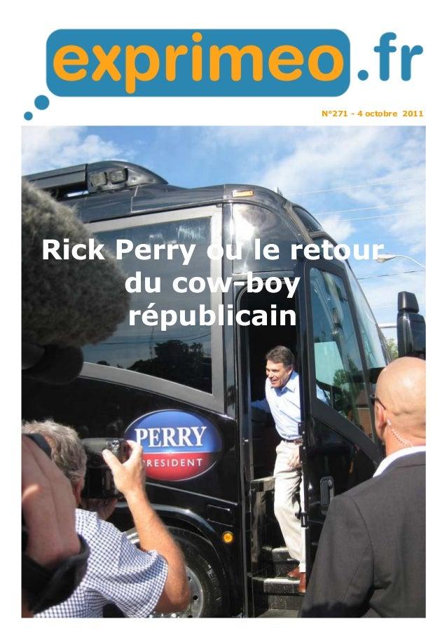 N°271 - 4 octobre 2011 Rick Perry ou le retour du cow-boy républicain