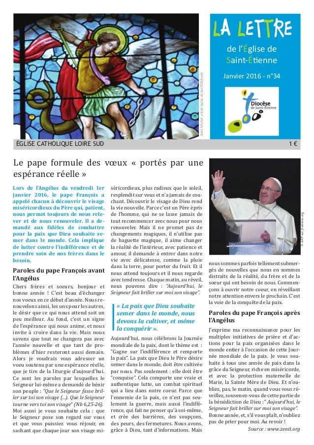 LA LETTRE ÉGLISE CATHOLIQUE LOIRE SUD 1 € Janvier 2016 - n°34 de l'Église de Saint-Étienne SaintMichel,vitrailéglisedeSail...
