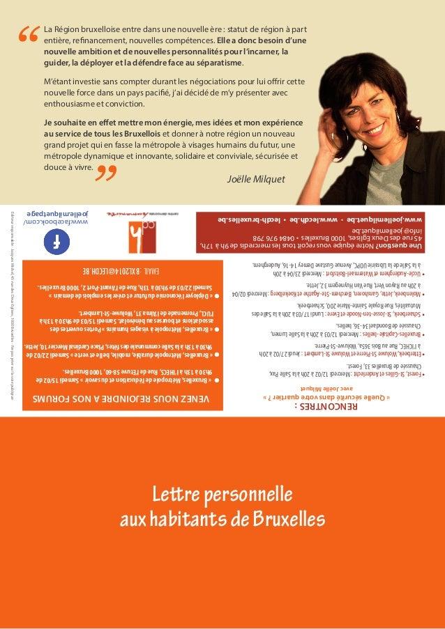 La lettre de Joëlle Milquet aux Bruxellois