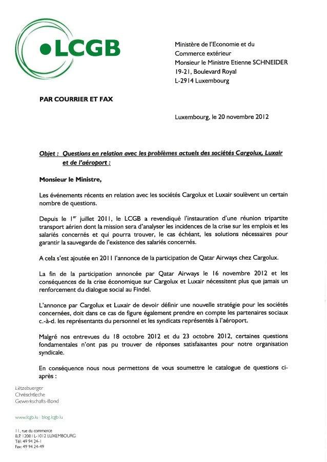 Lettre + catalogue de questions dossier cargolux, luxair 20.11.12   ministre schneider