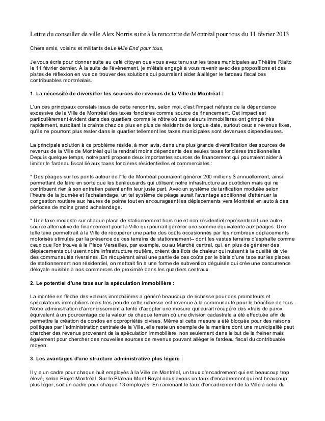 Lettre du conseiller de ville Alex Norris suite à la rencontre de Montréal pour tous du 11 février 2013 Chers amis, voisin...