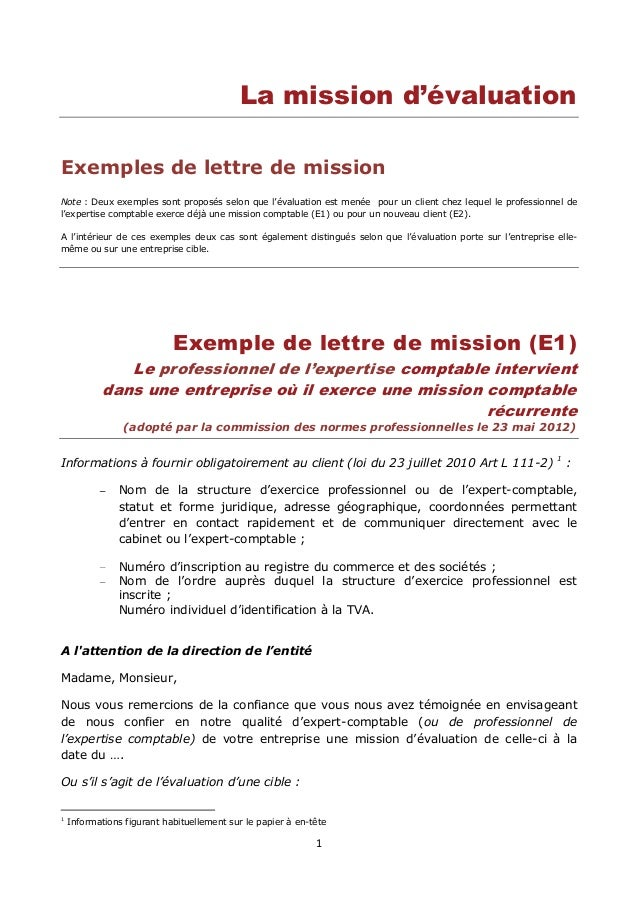 1 La mission d'évaluation Exemples de lettre de mission Note : Deux exemples sont proposés selon que l'évaluation est mené...