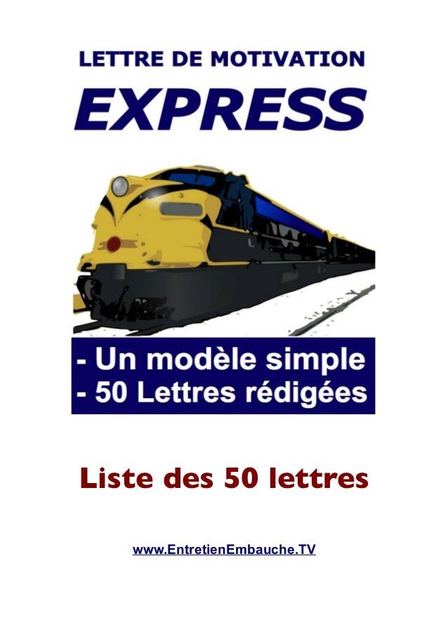 Liste des 50 lettres www.EntretienEmbauche.TV