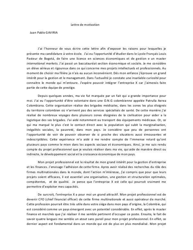 lettre de motivation ecologie