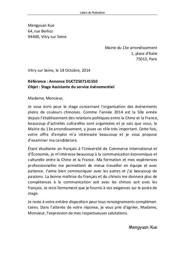 exemple lettre de motivation italien
