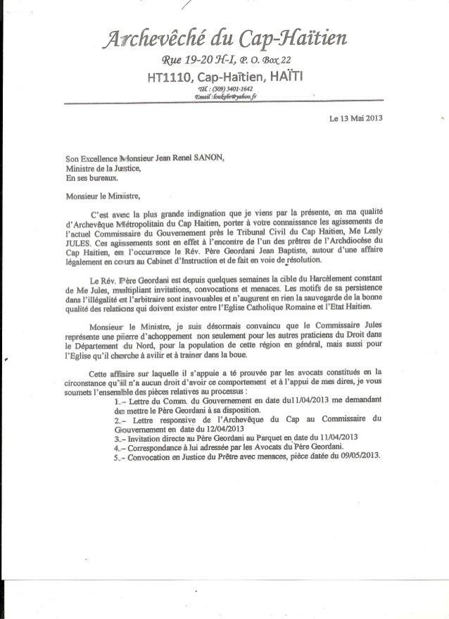 Lettre de msgr kebreau au Ministre de la Justice