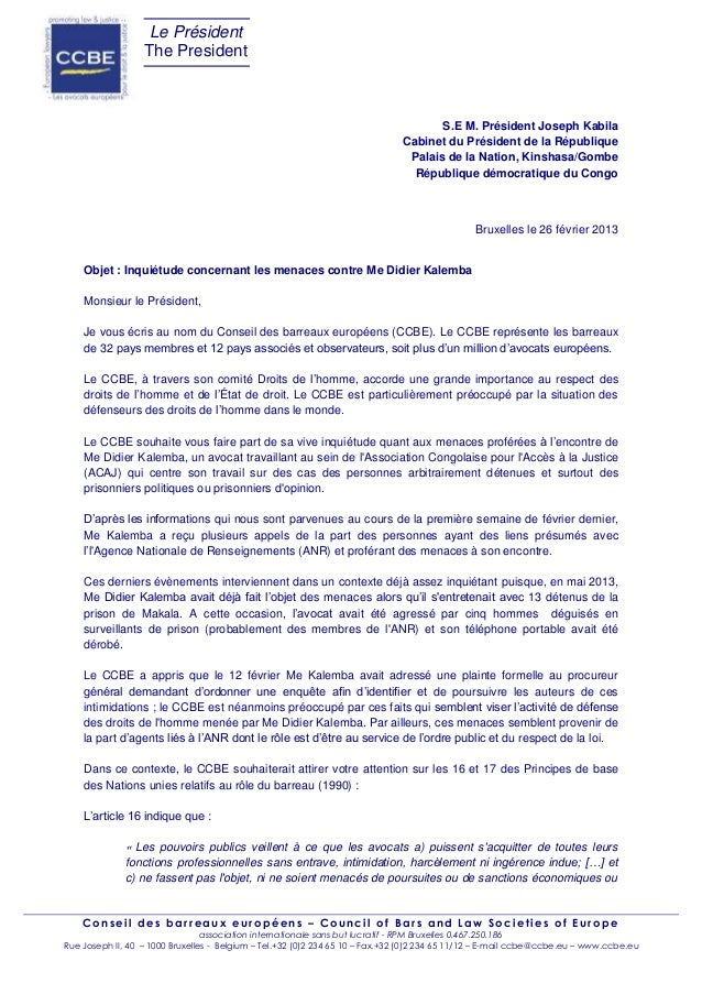 Congo : le CCBE soutien Me Didier Kalemba