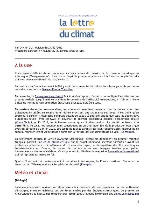 Afficher cette lettre dans votre navigateur internetPar Olivier GUY, édition du 24/12/2012Prochaine édition le 7 janvier 2...