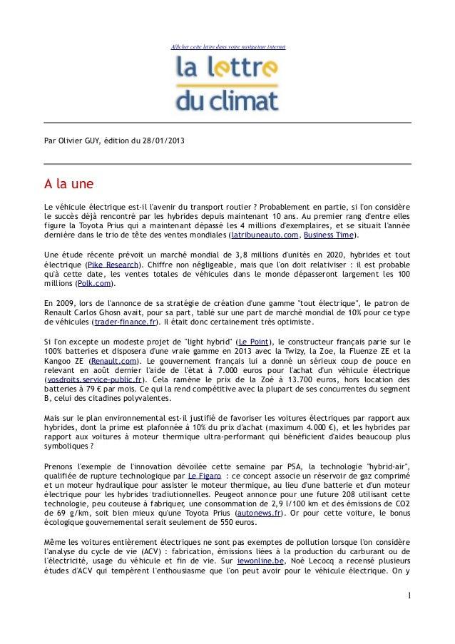 Afficher cette lettre dans votre navigateur internetPar Olivier GUY, édition du 28/01/2013A la uneLe véhicule électrique e...