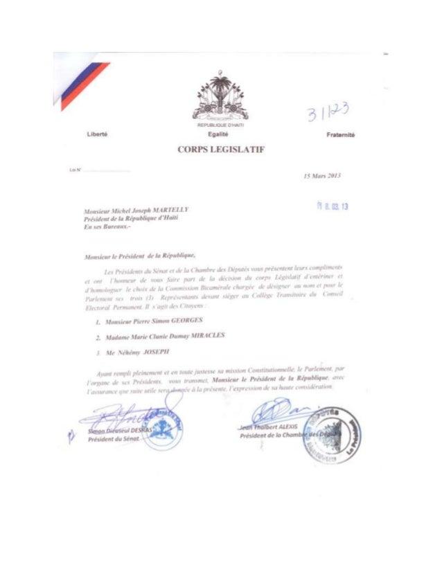 Lettre du Corps Législatif d'Haiti Désignant ses 3 Membres au CTEP