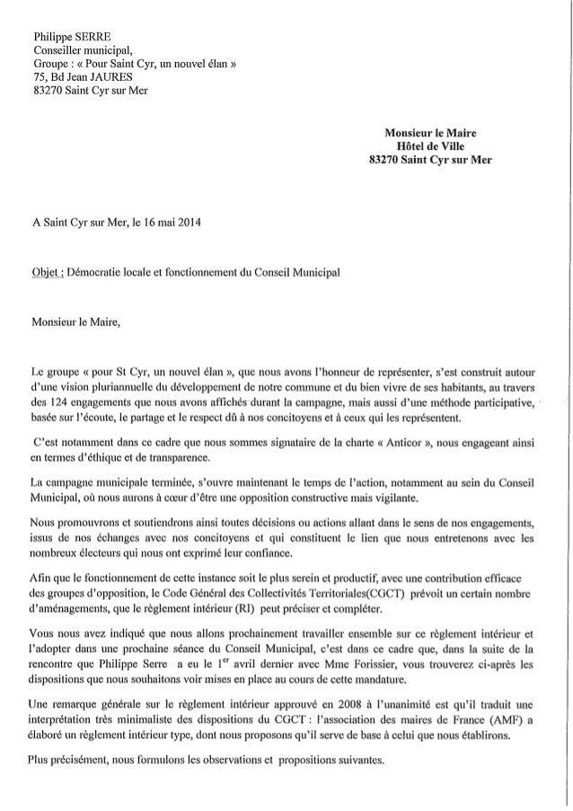 Lettre Philippe Serre Mairie Saint Cyr sur Mer