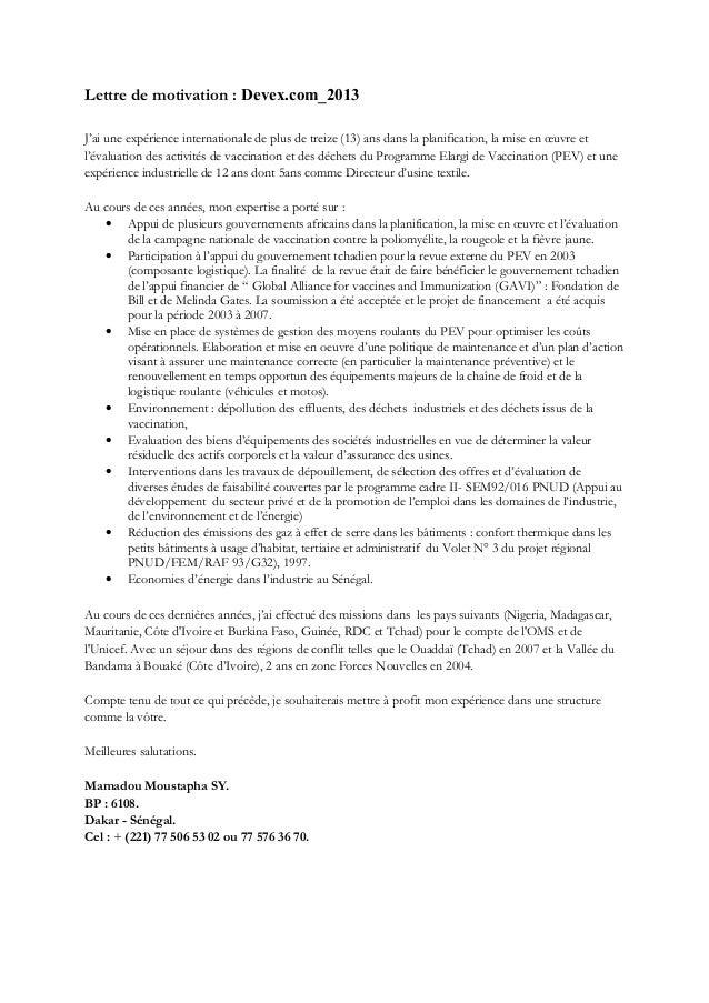 lettre de motivation humanitaire
