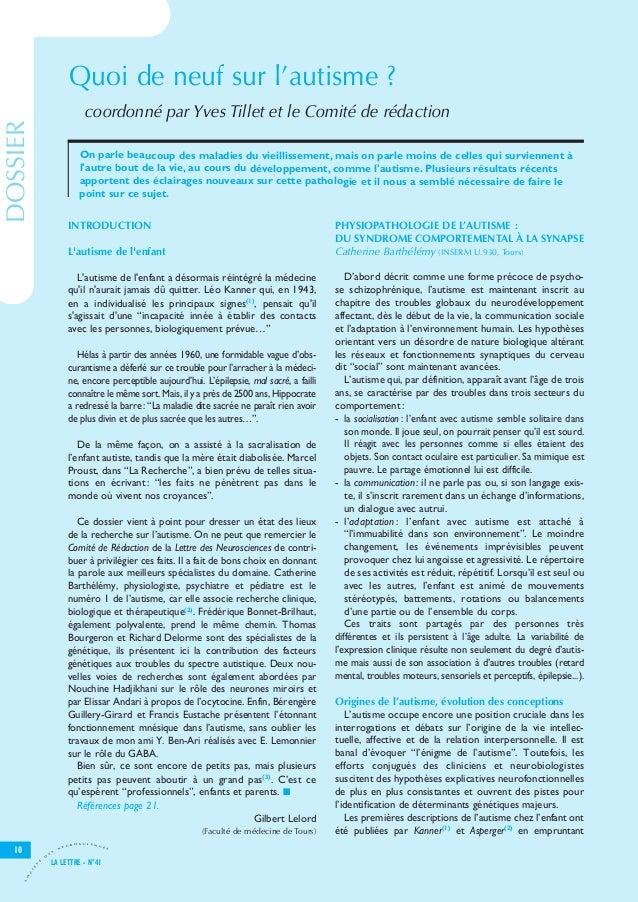 Let41 V8-7_Let25 28/11/11 15:54 Page10                                          Quoi de neuf sur l'autisme ?              ...
