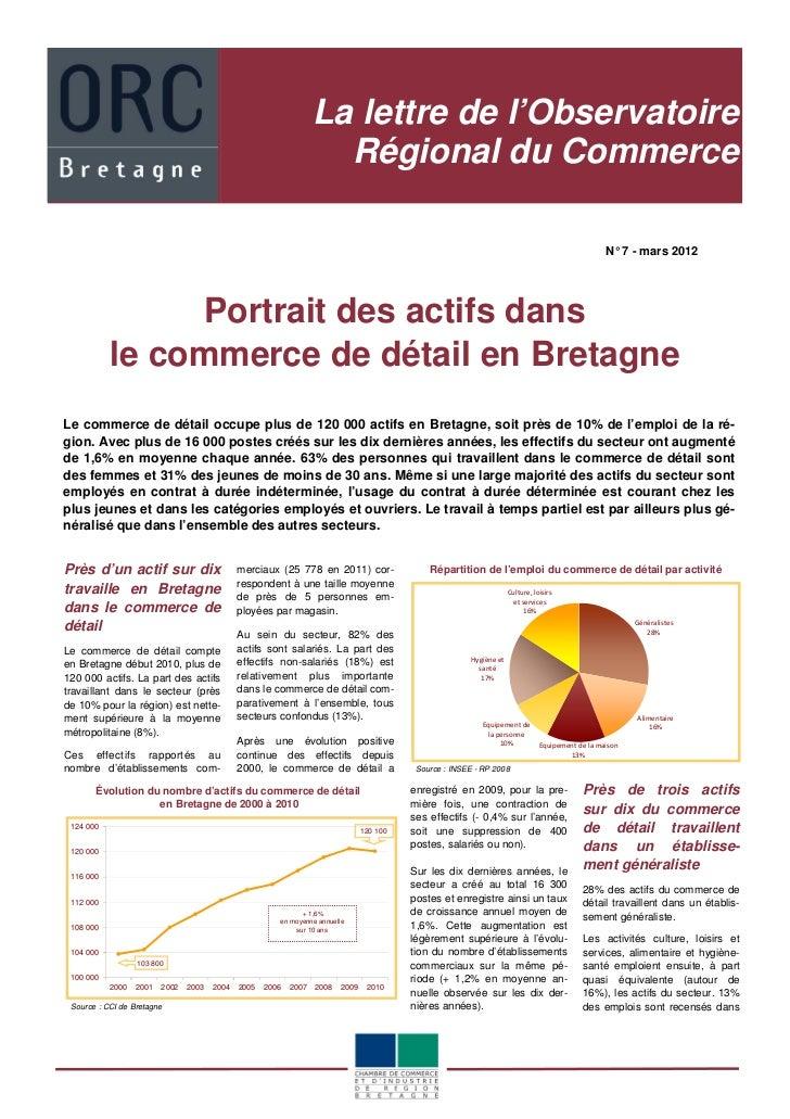 Portrait des actifs dans le commerce de détail en bretagne - lettre de l'Observatoire Régional du Commerce n°7