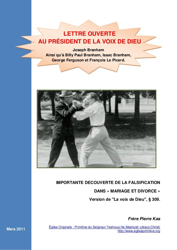 LETTRE OUVERTE            AU PRÉSIDENT DE LA VOIX DE DIEU                              Joseph Branham              Ainsi q...